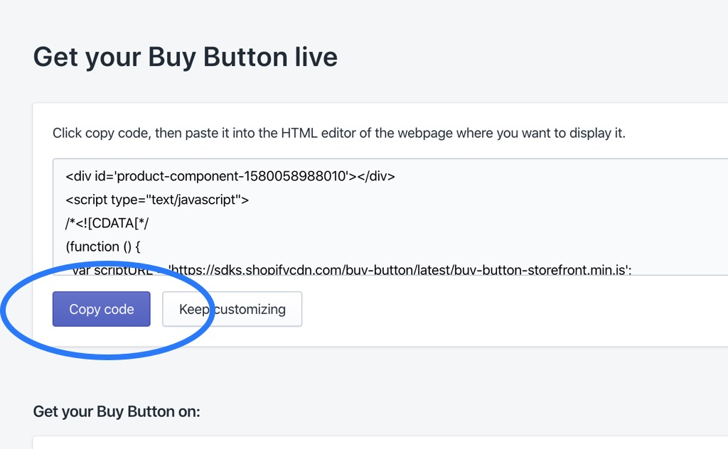 Shopify Buy Button Landing Page